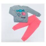 Комплект футболка с длинными рукавами и брюки для девочки M076