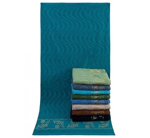 Полотенце банное пляжное махровое Дельфины 70x140