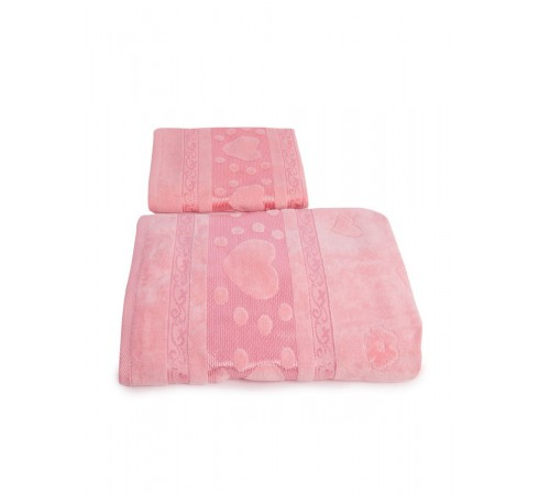 Набор махровых полотенец Сердечки 50х90 и 70х140 арт-12912238 (2 шт)
