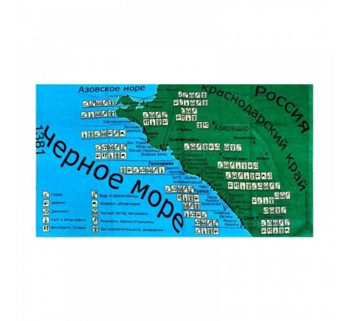 Полотенце махрово-велюровое Карта 70x140 арт-1381