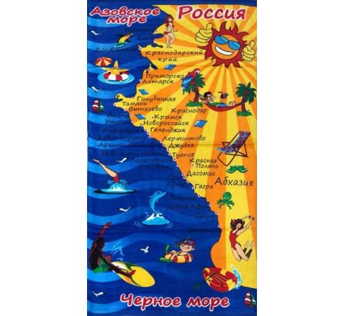 Полотенце махрово-велюровое Карта 70x140 арт-1823