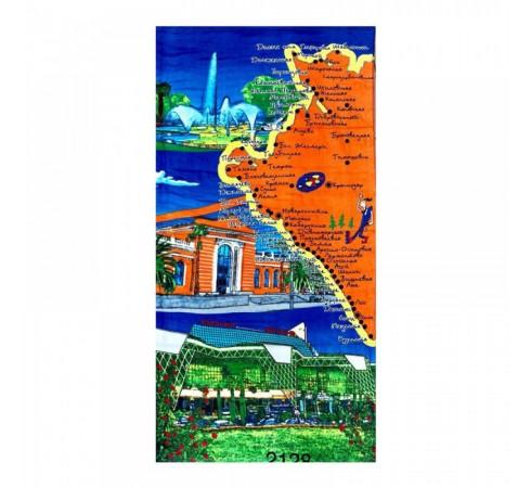 Полотенце махрово-велюровое Карта 70x140 арт-2128
