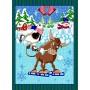 Полотенце вафельное Бычки и снеговики 60x45 ПВ0636