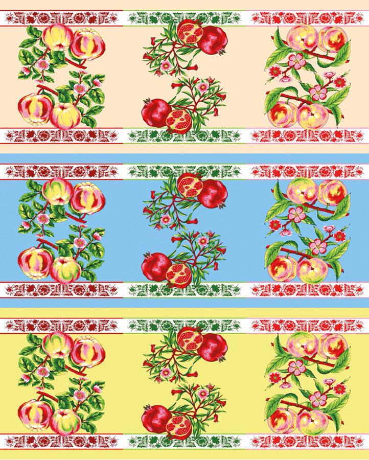 Ткань вафельная «Фрукты «Гранат»»