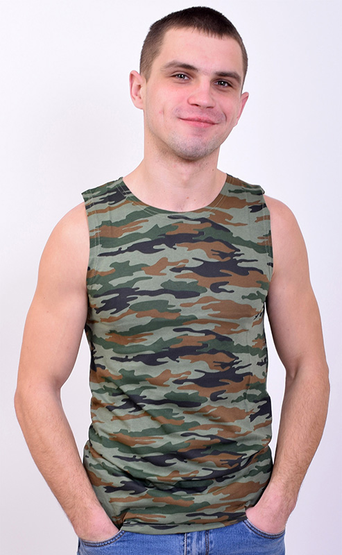 Майка мужская камуфляж зеленая арт. 12223