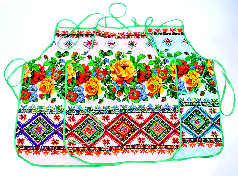 Фартук из рогожки без кармана арт. «Вышивка цветы» арт. 12174