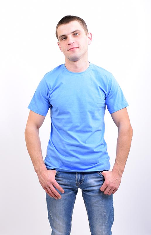 Футболка мужская однотонная голубая арт. M-001