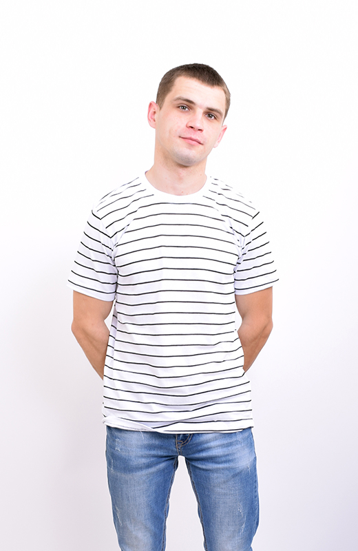Футболка мужская в полоску белая арт. M-005