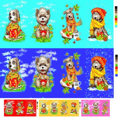 Полотенце вафельное «Собаки 4 сезона» 35*60 арт. 22137