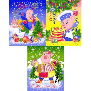 Полотенце вафельное арт22161 «Хрюшки-зима»