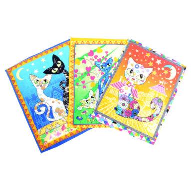 Полотенце вафельное Кошки цветные 45×60 арт-23167