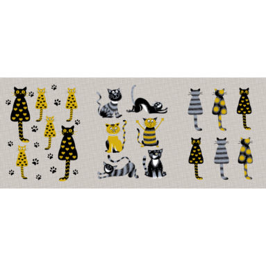 Полотенце рогожка Коты серые 45×60 арт 23170