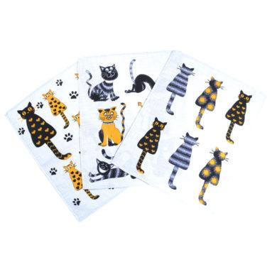 Полотенце рогожка Коты серые 45×60 арт-23170
