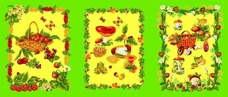 Полотенце вафельное «Грибы/лесные ягоды» арт. 12169